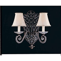 Grand 2-Light English Bronze Silk Shade Wall Sconce