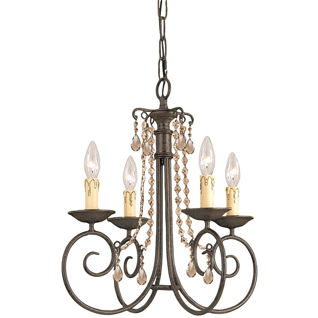 Crystorama Soho Collection 4-light Dark Rust/ Crystal Chandelier