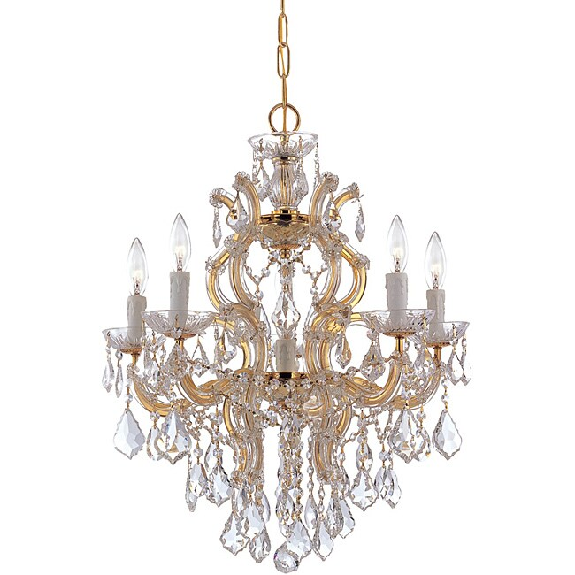 Crystorama Maria Theresa Five Light Polished Gold Chandelier Three Overstock Com Shopping