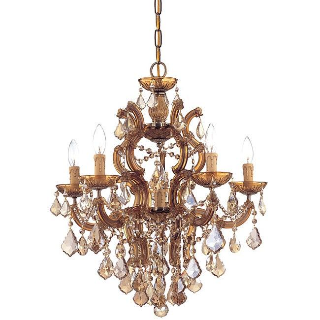 Crystorama Maria Theresa 5-light Antique Brass Chandelier