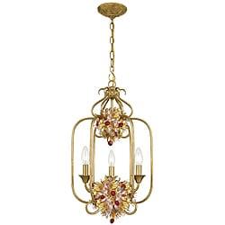 'Fiore' 3-light Antique Gold Leaf Pendant Fixture
