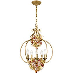 Fiore 5-light Antique Gold Leaf Pendant Fixture