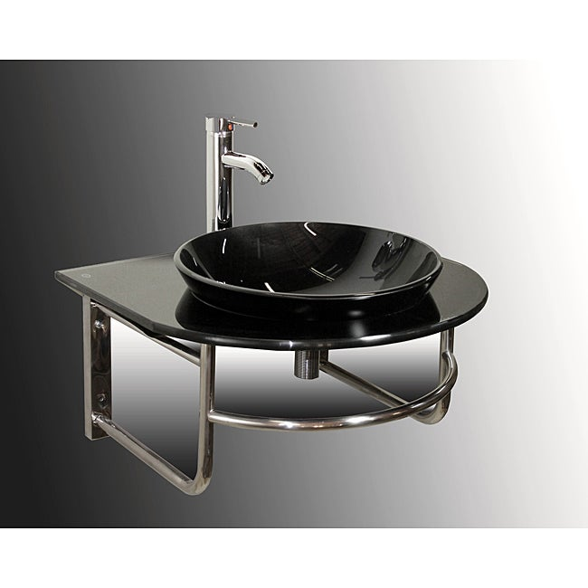 Wall-mount Black Glass Bathroom Vanity Set