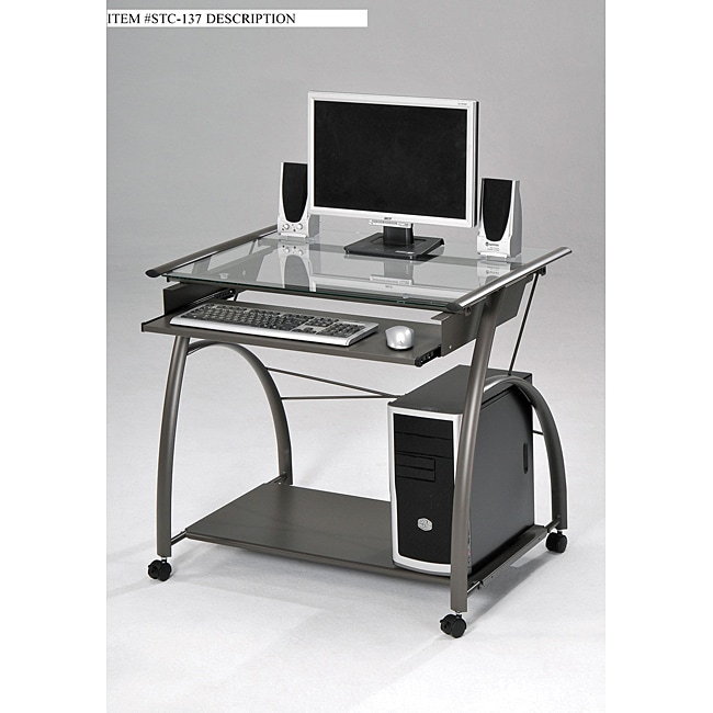 Glass And Metal Computer Desk Overstock Shopping