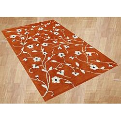Handmade Rust New Zealand Wool Blend Rug (8'x10')