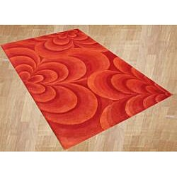Alliyah Handmade Red Flowers New Zeland Blend Wool Blend Rug (8' x 10')