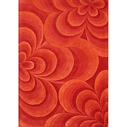 Handmade Red Flowers Wool Blend Rug (8' x 10')