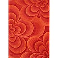 Handmade Red Flowers New Zealand Blend Wool Rug (5' x 8')