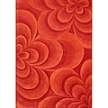 Alliyah Handmade Red Flowers New Zeland Blend Wool Blend Rug (5' x 8')