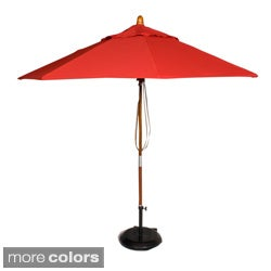 PHAT TOMMY 9 Foot Sunbrella Fabric Marenti Wood Market Patio Umbrella