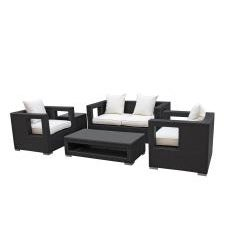 Lunar Outdoor Living Espresso Wicker Rattan Patio Set with White Cushions (5-pieces)