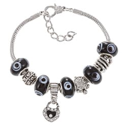 La Preciosa Silverplated Black Evil Eye Bead and Charm Bracelet