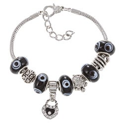 La Preciosa Silverplated Black Evil Eye Bead and Charm Pandora-style Bracelet