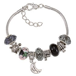 La Preciosa Silverplated Black Bead and Charm Pandora-style Bracelet
