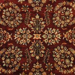 Indo Hand-knotted Sarouk Burgundy/ Navy Wool Rug (7'9 x 10'1)