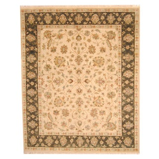 Herat Oriental Indo Hand-knotted Mahal Beige/ Charcoal Wool Rug (8' x 9'10)
