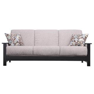 Portfolio Belfry Convert-a-Couch Gray Chenille Wood Arm Futon Sofa Sleeper