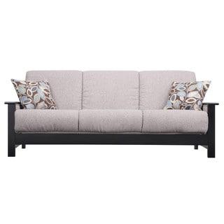 Portfolio Belfry Convert-a-Couch Gray Chenille Wood Arm Futon Sofa Sleeper