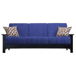 Portfolio Belfry Convert-a-Couch Blue Chenille Wood Arm Futon Sofa Sleeper