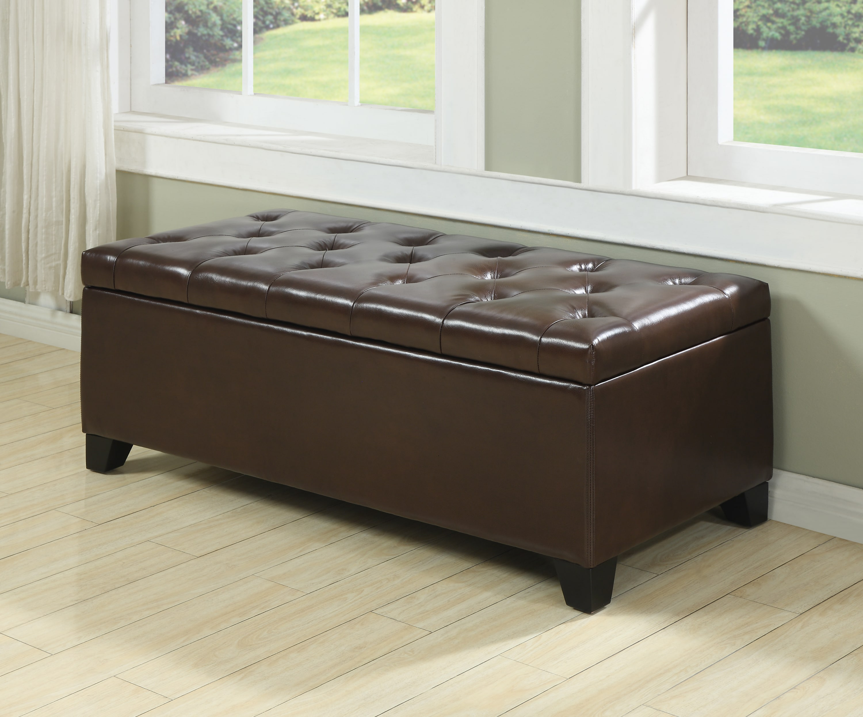 Portfolio Blane Tufted Brown Renu Leather Wall Hugger Bench Storage Ottoman at Sears.com