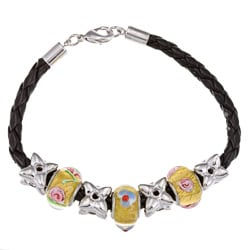 La Preciosa Silverplated Glass Flower Bead Leather Pandora-style Bracelet