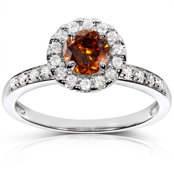 14k Gold 4/5ct TDW Certified Orange and White Diamond Halo Ring (F-G, I1-I2)