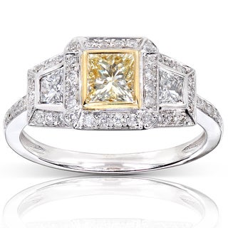 Annello 14k Gold 1 1/4ct TDW Yellow and White Diamond Engagement Ring (G-H, VS1-VS2)