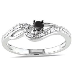 Miadora 10k White Gold 1/6ct TDW Black and White Diamond Ring (H-I, I2-I3)