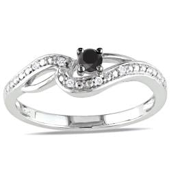 Miadora 10k White Gold 1/6ct TDW Black-and-white Round-cut Diamond Ring (H-I, I2-I3)