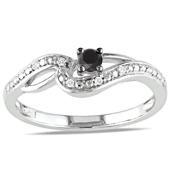Haylee Jewels 10k White Gold 1/6ct TDW Black-and-white Round-cut Diamond Ring (H-I, I2-I3)