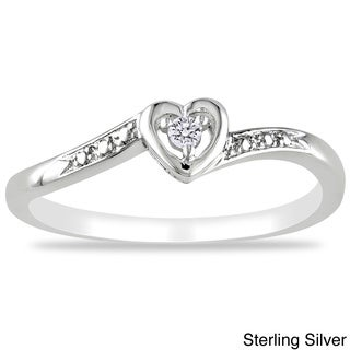 M by Miadora Sterling Silver or Rose Plated Diamond Accent Heart Ring with Bonus Earrings