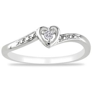 Sterling Silver or Rose Plated Diamond Accent Heart Ring
