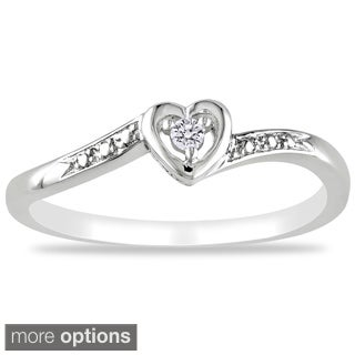 M by Miadora Sterling Silver or Rose Plated Diamond Accent Heart Ring