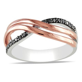 Haylee Jewels Pink Silver 1/10ct TDW Black Diamond Ring