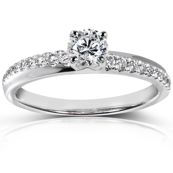 Annello 14k White Gold 3/5 ct TDW Certified Diamond Engagement Ring (F-G, I1)