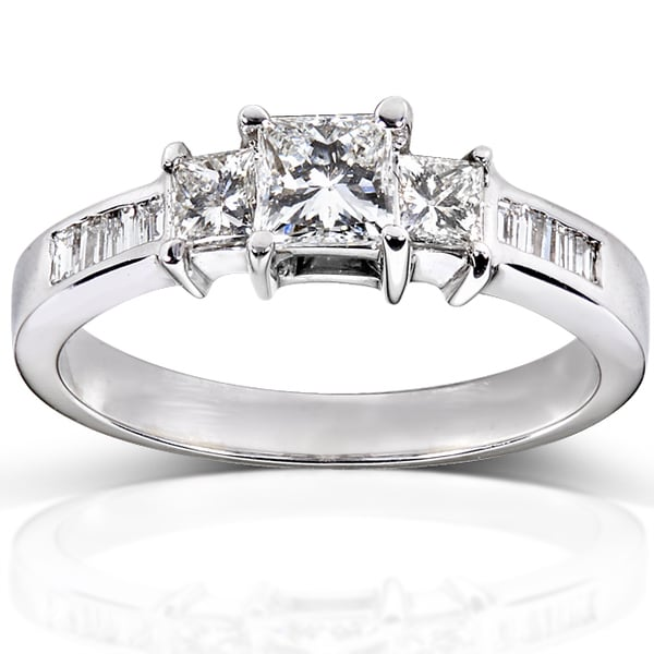 Annello 14k Gold 1ct TDW Certified Princess and Baguette Cut Diamond Ring (H-I, SI2-I1)