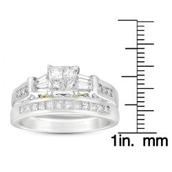 14k Two-Tone Gold 1ct TDW Princess and Baguette Cut Diamond Bridal Set (G-H, I1)
