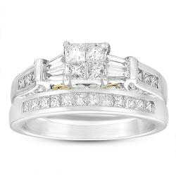14k Two-Tone Gold 1ct TDW Princess and Baguette Cut Diamond Bridal Set (G-H, I1)