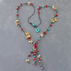 Goldtone Butterfly Coral and Turquoise Cotton Necklace (Thailand)