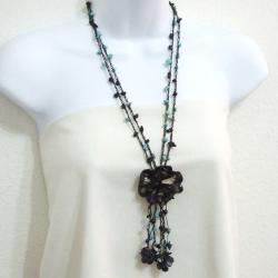 Onyx and Turquoise Black Leather Rose Necklace (Thailand)