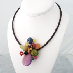 Multi-Gemstone Cluster Cotton Rope Necklace (Thailand)