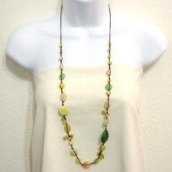 Lime Sensation Quartz and Sandstone Cotton Rope Necklace (Thailand)