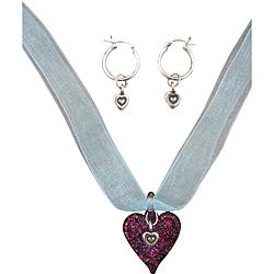Beadwork By Julie Sterling Silver / Glass Heart Ribbon Necklace and Earrings