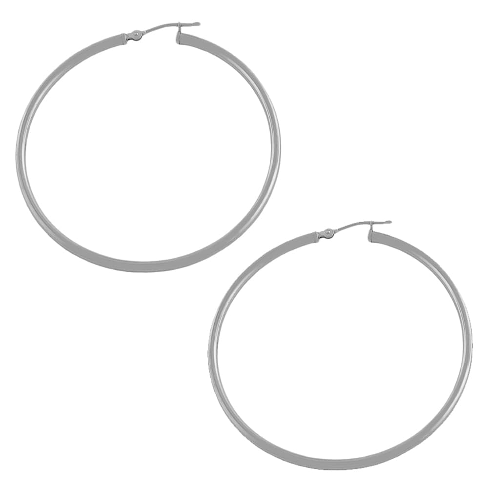Fremada 14k White Gold Tube Hoop Earrings