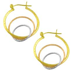 Fremada 14k Tri-color Gold Diamond-cut Graduated Hoop Earrings