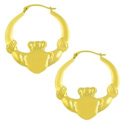 Fremada 14k Yellow Gold Claddagh Hoop Earrings