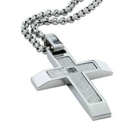 Stainless Steel Men's Black Diamond Accent Cross Necklace