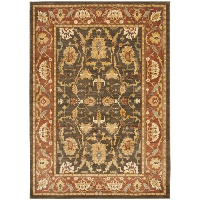Safavieh Oushak Traditional Brown/Rust Powerloomed Rug (4' x 5'7)