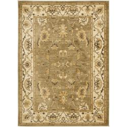 Traditional Oushak Green/Cream Powerloomed Rug (5'3 x 7'6)