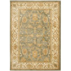 Oushak  Traditional Blue/Cream Powerloomed Rug (5'3 x 7'6)